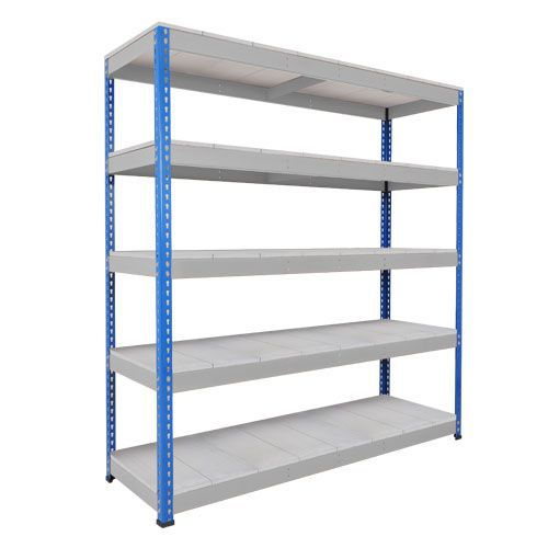 Rapid 1 Heavy Duty Shelving (1980h x 1830w) Blue & Grey - 5 Galvanized Shelves
