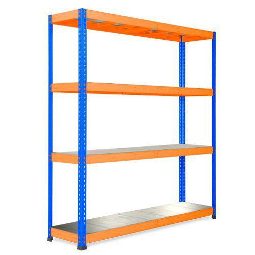 Rapid 1 Heavy Duty Shelving (1980h x 1830w) Blue & Orange - 5 Galvanized Shelves
