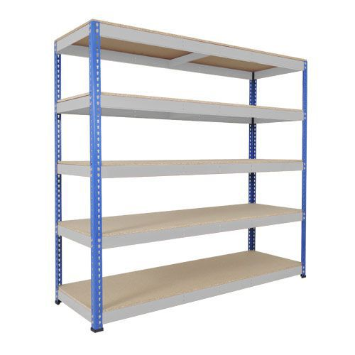 Rapid 1 Heavy Duty Shelving (1980h x 2134w) Blue & Grey - 5 Chipboard Shelves