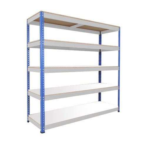 Rapid 1 Heavy Duty Shelving (1980h x 1830w) Blue & Grey - 5 Melamine Shelves