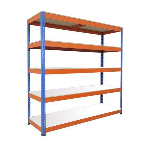 Rapid 1 Heavy Duty Shelving (1980h x 2440w) Blue & Orange - 5 Melamine Shelves