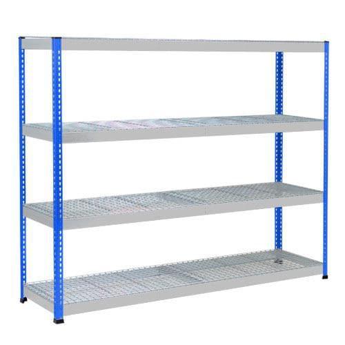Rapid 1 Heavy Duty Shelving (1980h x 2440w) Blue & Grey - 4 Wire Mesh Shelves