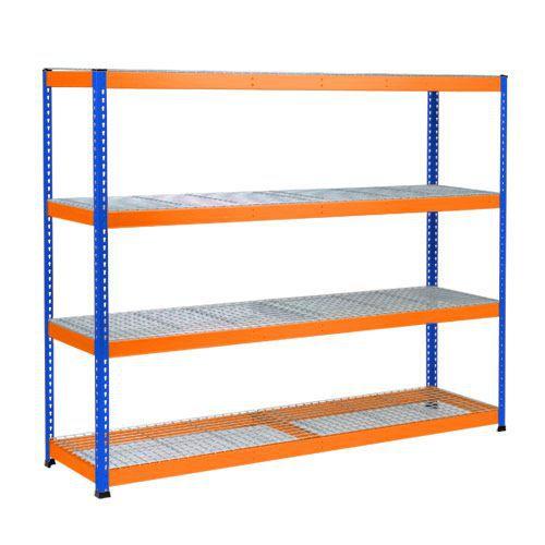 Rapid 1 Heavy Duty Shelving (1980h x 2440w) Blue & Orange - 4 Wire Mesh Shelves