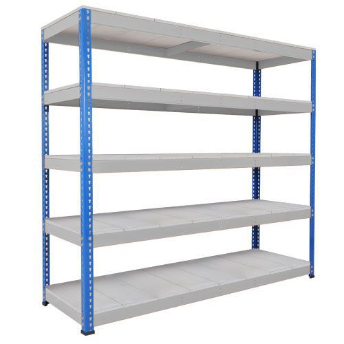 Rapid 1 Heavy Duty Shelving (1980h x 2440w) Blue & Grey - 5 Galvanized Shelves
