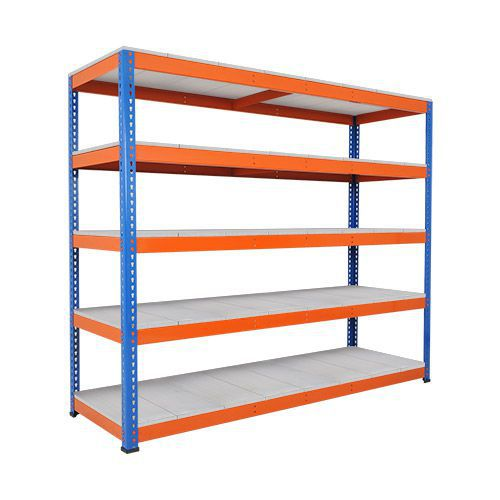 Rapid 1 Heavy Duty Shelving (1980h x 2440w) Blue & Orange - 5 Galvanized Shelves