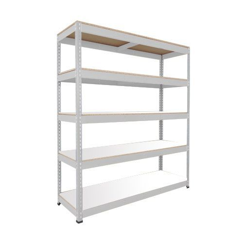 Rapid 1 Galvanized Shelving with 5 Melamine Shelves (1980h x 1830w)