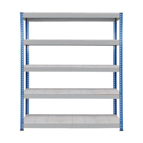 Rapid 1 Heavy Duty Shelving (2440h x 1830w) Blue & Grey - 5 Galvanized Shelves