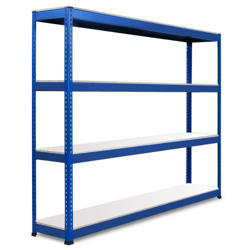 Rapid 1 Heavy Duty Shelving (2440h x 2134w) Blue - 4 Melamine Shelves
