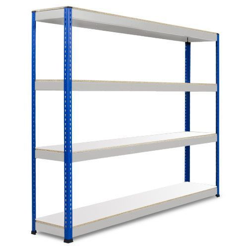 Rapid 1 Heavy Duty Shelving (2440h x 2134w) Blue & Grey - 4 Melamine Shelves