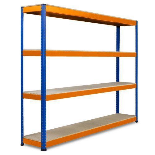 Rapid 1 Heavy Duty Shelving (2440h x 2134w) Blue & Orange - 4 Chipboard Shelves