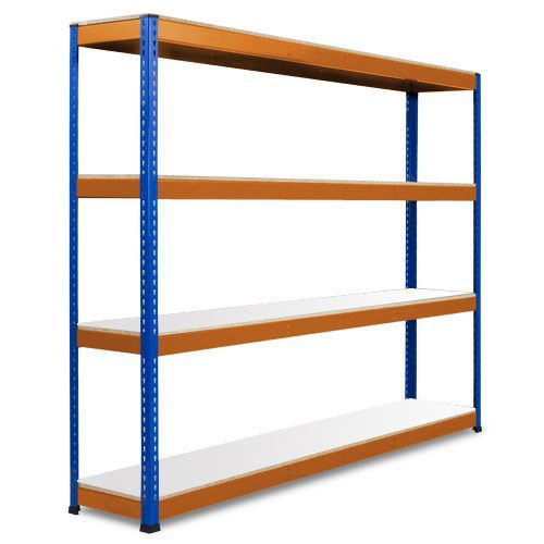 Rapid 1 Heavy Duty Shelving (2440h x 2134w) Blue & Orange - 4 Melamine Shelves