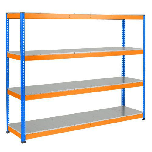 Rapid 1 Heavy Duty Shelving (2440h x 2134w) Blue & Orange - 4 Galvanized Shelves