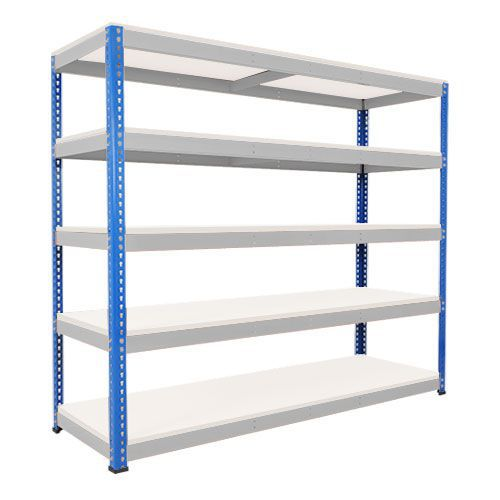 Rapid 1 Heavy Duty Shelving (2440h x 2134w) Blue & Grey - 5 Melamine Shelves
