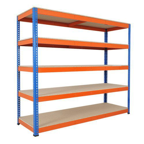 Rapid 1 Heavy Duty Shelving (2440h x 2134w) Blue & Orange - 5 Chipboard Shelves