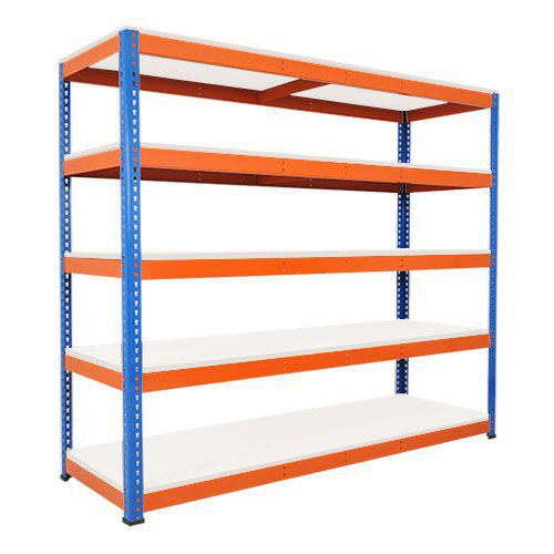 Rapid 1 Heavy Duty Shelving (2440h x 2440w) Blue & Orange - 5 Melamine Shelves