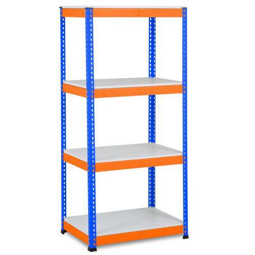 Rapid 1 Shelving (1980h x 915w) Blue & Orange - 4 Melamine Shelves