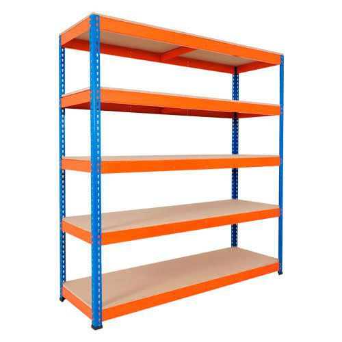 Rapid 1 Shelving (1980h x 1220w) Blue & Orange - 5 Chipboard Shelves