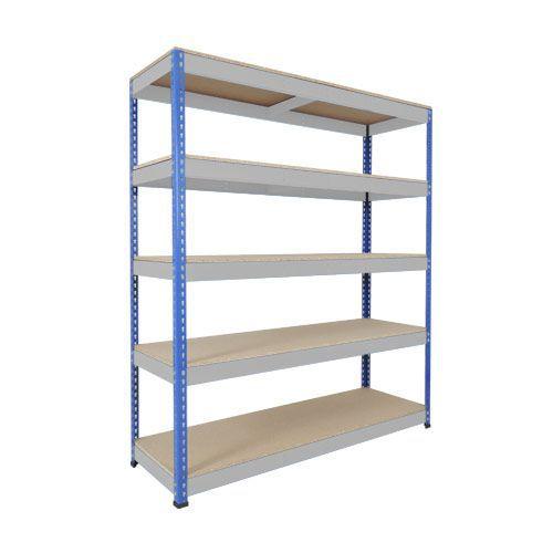 Rapid 1 Shelving (1980h x 1830w) Blue & Grey - 5 Chipboard Shelves