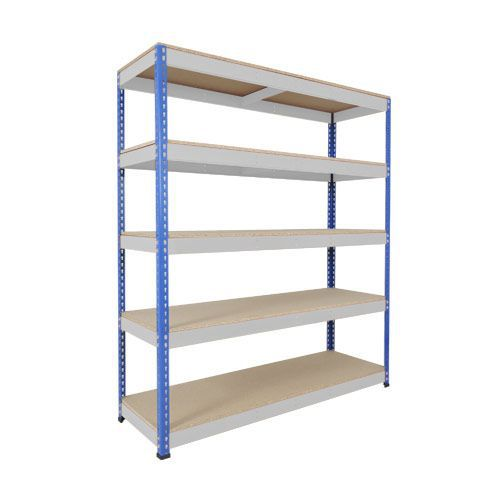 Rapid 1 Shelving (2440h x 1525w) Blue & Grey - 5 Chipboard Shelves
