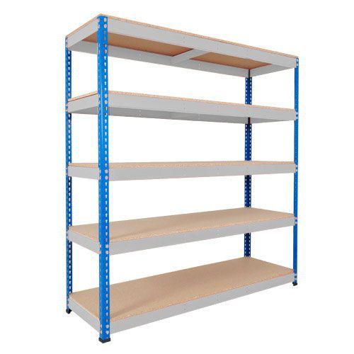 Rapid 1 Shelving (2440h x 1830w) Blue & Grey - 5 Chipboard Shelves