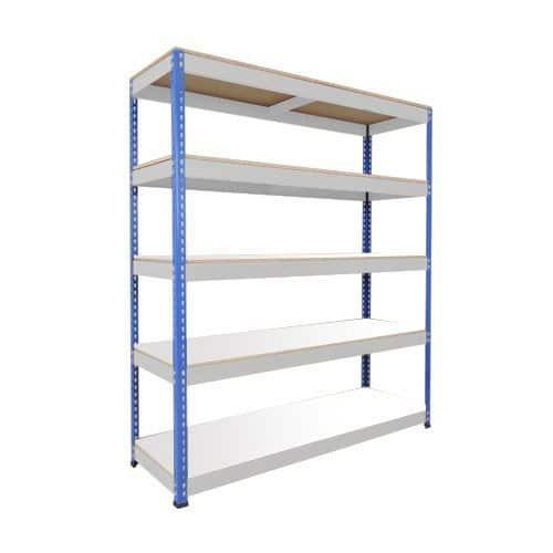 Rapid 1 Shelving (2440h x 1830w) Blue & Grey - 5 Melamine Shelves