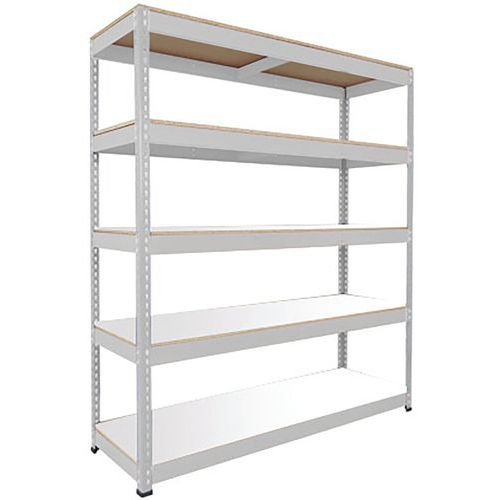 Rapid 1 Shelving (2440h x 1830w) Grey - 5 Melamine Shelves