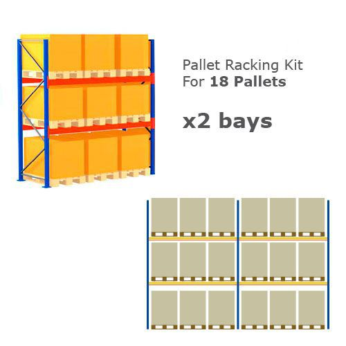 Pallet Racking Kit - Holds 18 Pallets - Sized (H)1000 x (w)800 x (D)1200