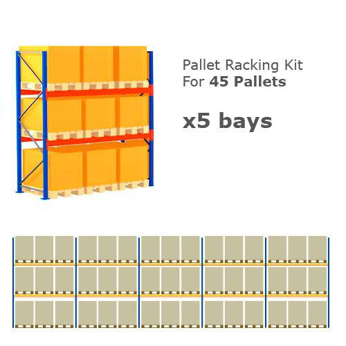 Pallet Racking Kit - Holds 45 Pallets - Sized (H) 1000 x (W) 800 x (D) 1200
