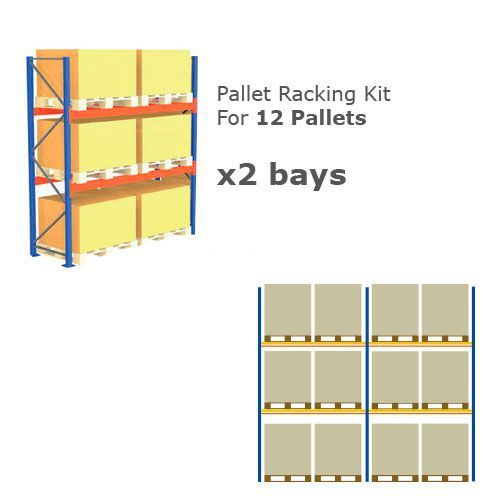 Pallet Racking Kit - Holds 12 Pallets - Sized (H)1000 x (w)1200 x (D)1000
