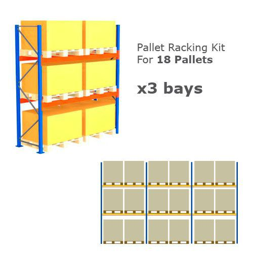 Pallet Racking Kit - Holds 18 Pallets - Sized (H) 1000 x (W) 1200 x (D) 1000