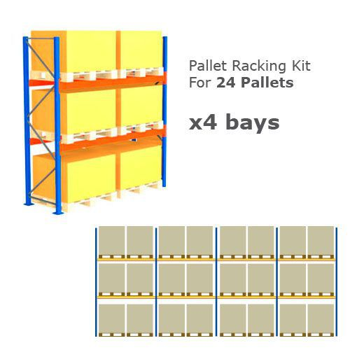 Pallet Racking Kit - Holds 24 Pallets - Sized H 1000 x W 1200 x D 1000