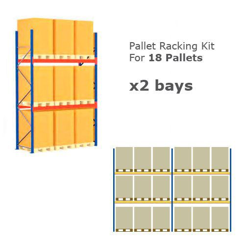 Pallet Racking Kit - Holds 18 Pallets - Sized (H)1500 x (w)800 x (D)1200