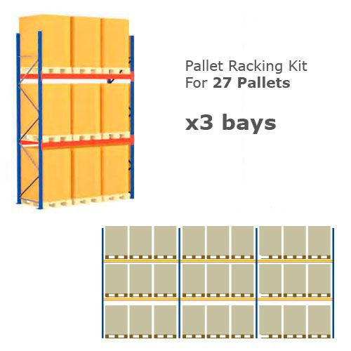 Pallet Racking Kit - Holds 27 Pallets - Sized (H) 1000 x (W) 800 x (D) 1200