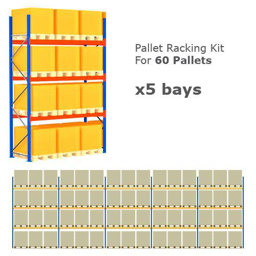 Pallet Racking Kit - Holds 60 Pallets Sized (H) 1500 x (W) 800 x (D) 1200