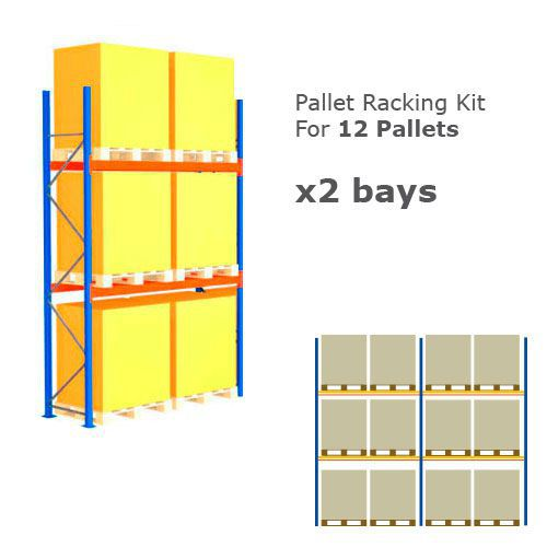 Pallet Racking Kit - Holds 12 Pallets - Sized (H)1500 x (w)1200 x (D)1000