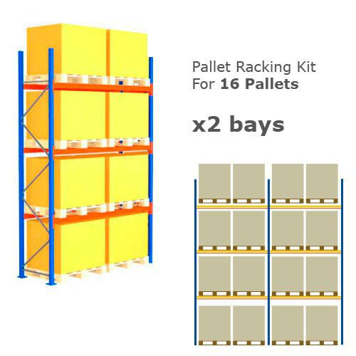 Pallet Racking Kit - Holds 16 Pallets - Sized (H)4000 x (w)5717 x (D)900