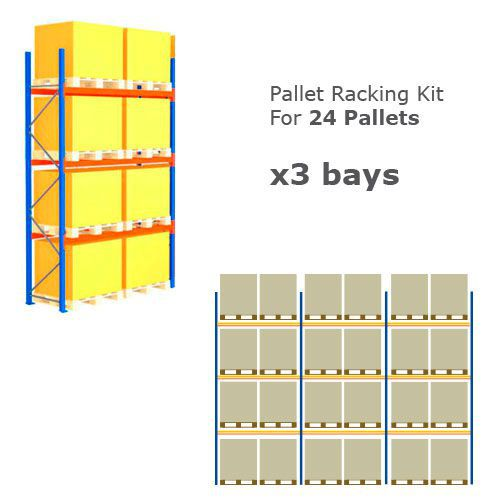 Pallet Racking Kit - Holds 24 Pallets - Sized (H) 1000 x (W) 1200 x (D) 1000