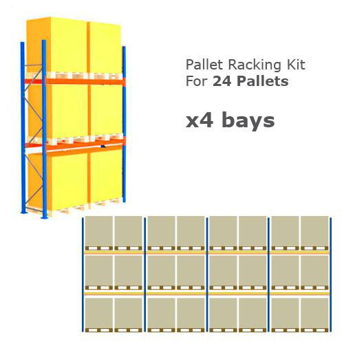 Pallet Racking Kit - Holds 24 Pallets - Sized (H) 1500 x (W) 1200 x (D) 1000