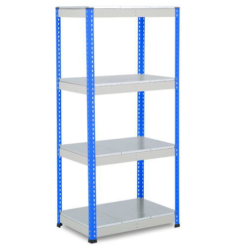 Rapid 1 Heavy Duty Shelving (1980h x 915w) Blue & Grey - 4 Galvanized Shelves