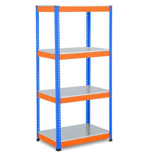 Rapid 1 Heavy Duty Shelving (1980h x 915w) Blue & Orange - 4 Galvanized Shelves