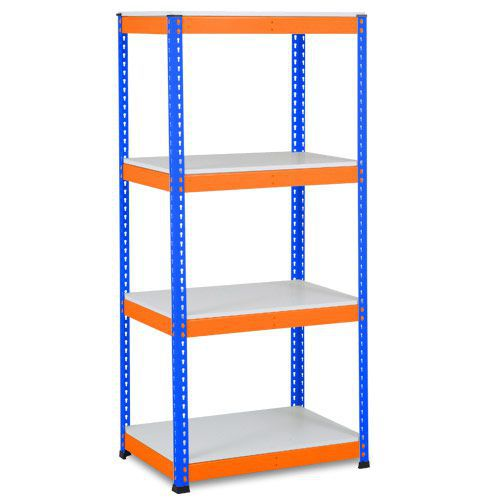 Rapid 1 Heavy Duty Shelving (1980h x 915w) Blue & Orange - 4 Melamine Shelves
