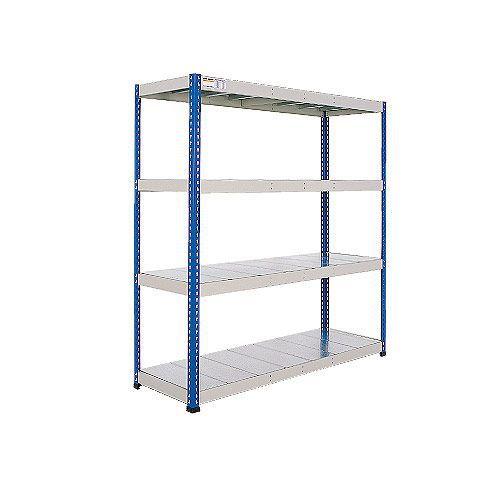 Rapid 1 Heavy Duty Shelving (1980h x 1220w) Blue & Grey - 4 Galvanized Shelves