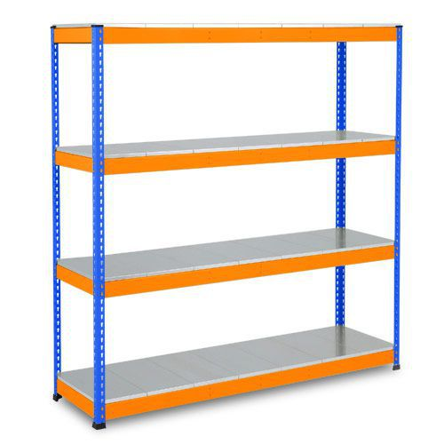 Rapid 1 Heavy Duty Shelving (1980h x 1220w) Blue & Orange - 4 Galvanized Shelves