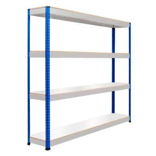 Rapid 1 Heavy Duty Shelving (1980h x 1220w) Blue & Grey - 4 Melamine Shelves