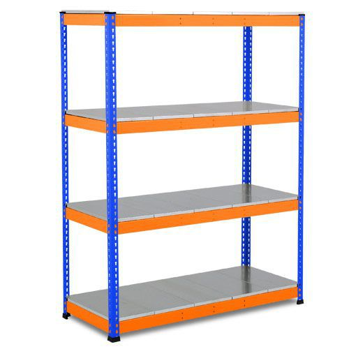 Rapid 1 Heavy Duty Shelving (1980h x 1525w) Blue & Orange - 4 Galvanized Shelves