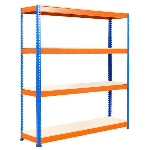 Rapid 1 Heavy Duty Shelving (1980h x 1525w) Blue & Orange - 4 Melamine Shelves