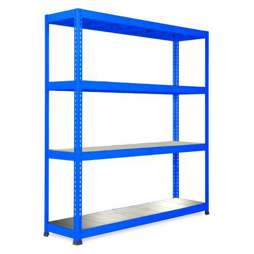 Rapid 1 Blue Shelving with 4 Galvanized Shelves (1980h x 1830w)