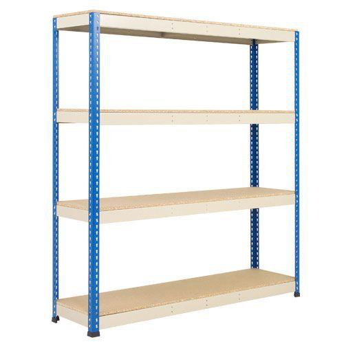 Rapid 1 Heavy Duty Shelving (1980h x 1830w) Blue & Grey - 4 Chipboard Shelves