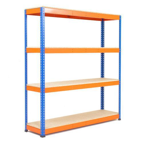 Rapid 1 Heavy Duty Shelving (1980h x 1830w) Blue & Orange- 4 Chipboard Shelves