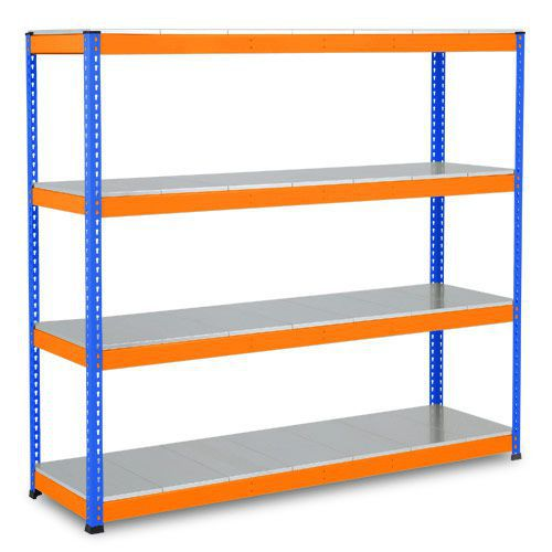 Rapid 1 Heavy Duty Shelving (1980h x 2134w) Blue & Orange - 4 Galvanized Shelves